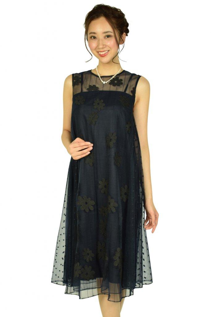 グレースコンチネンタル (GRACE CONTINENTAL) フラワー刺繍チュールネイビードレス