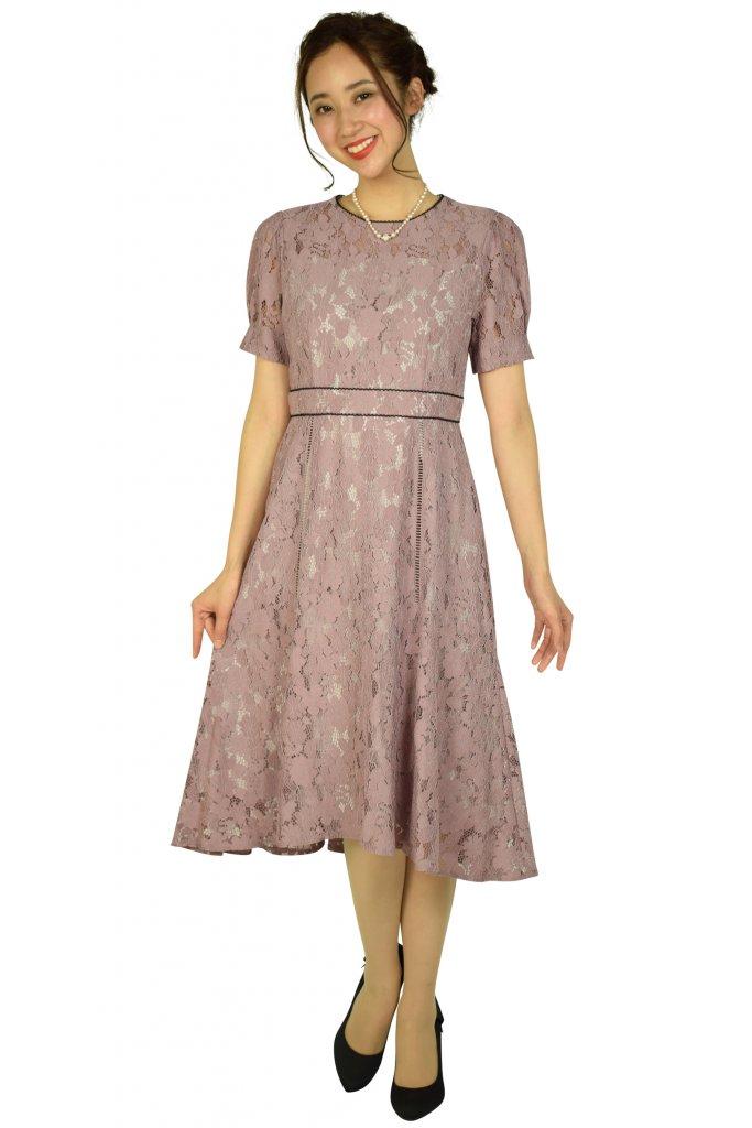 ジュシュペール(Je super) パフスリーブレースピンクドレス