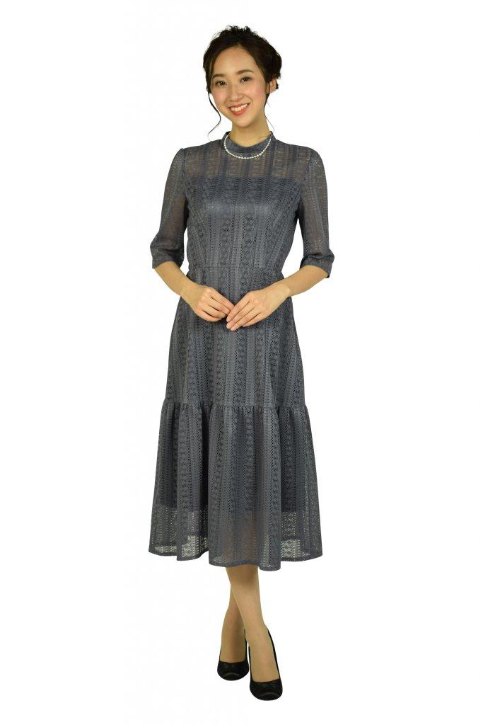 エメ (AIMER) マーメイドストライプレースモーブドレス