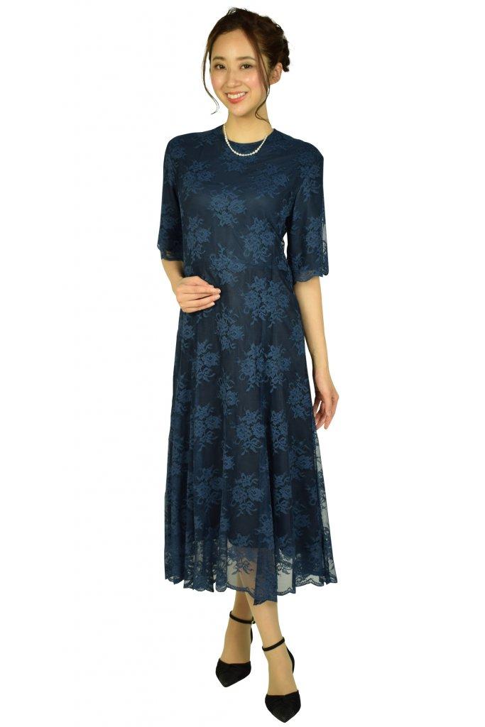 BEAUTY&YOUTH UNITED ARROWS フラワーチュールレースネイビードレス