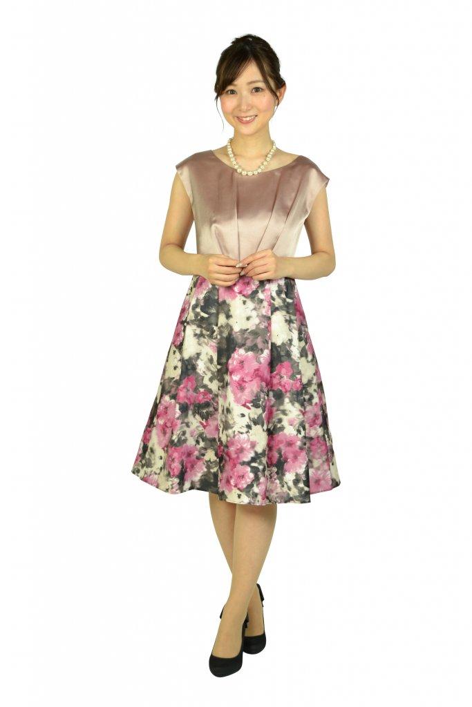 アグレアーブル 編上げフラワープリントピンクドレス