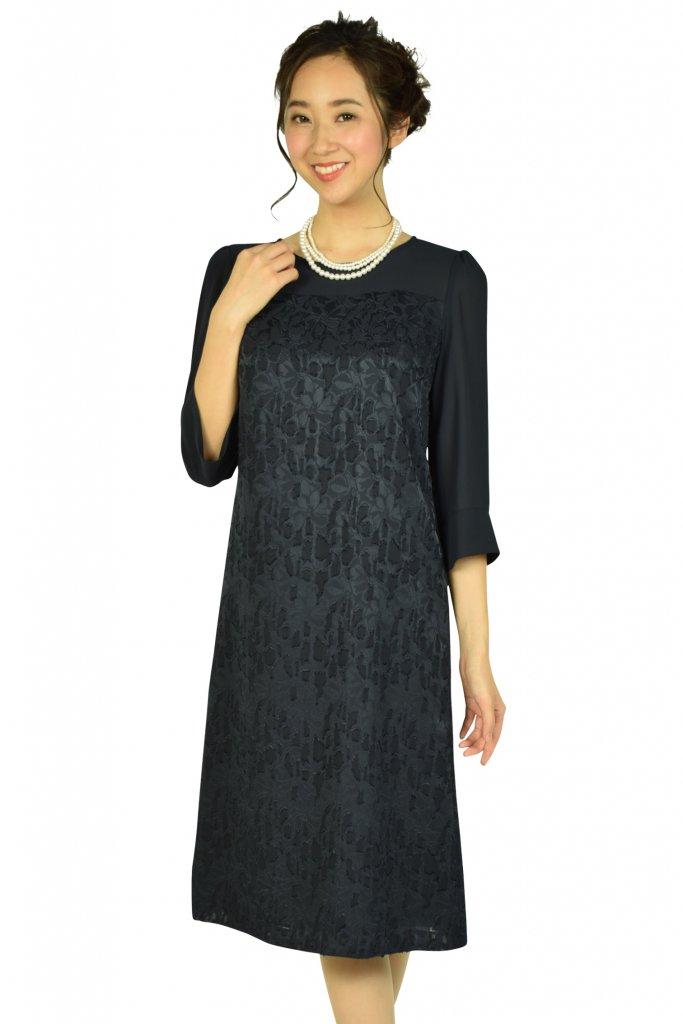 ドレス デコ (DRESS DECO) 上品フロッキーフラワーネイビードレス