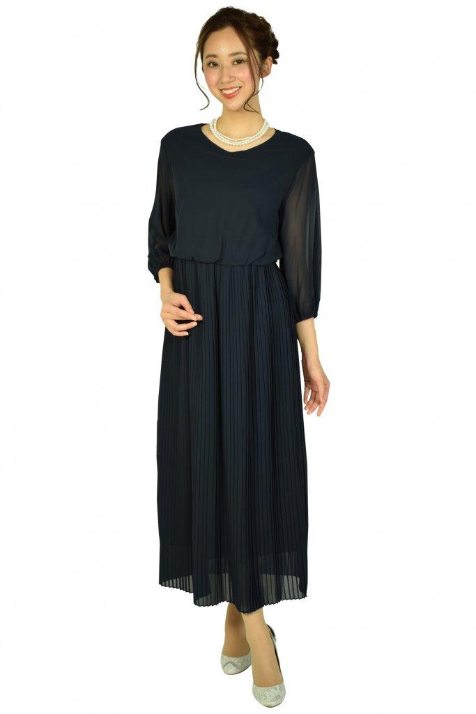 フェテローブ (FeteROBE) エアリー袖付きネイビードレスをレンタル
