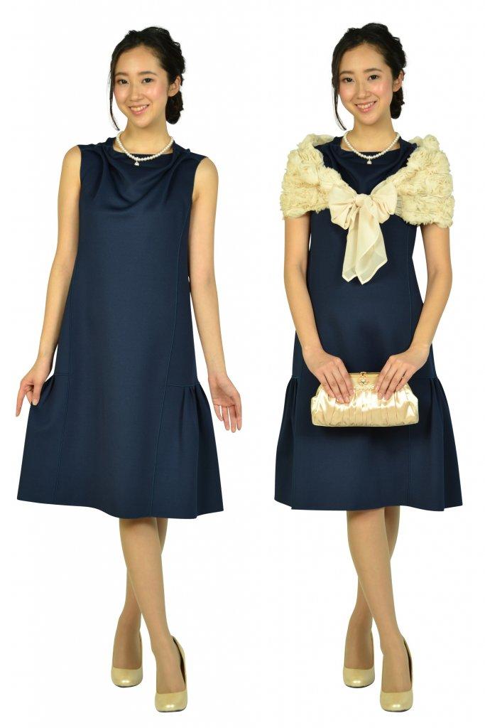 エンポリオ アルマーニ(EMPORIO ARMANI) ドレープ&タックゆったりネイビードレス