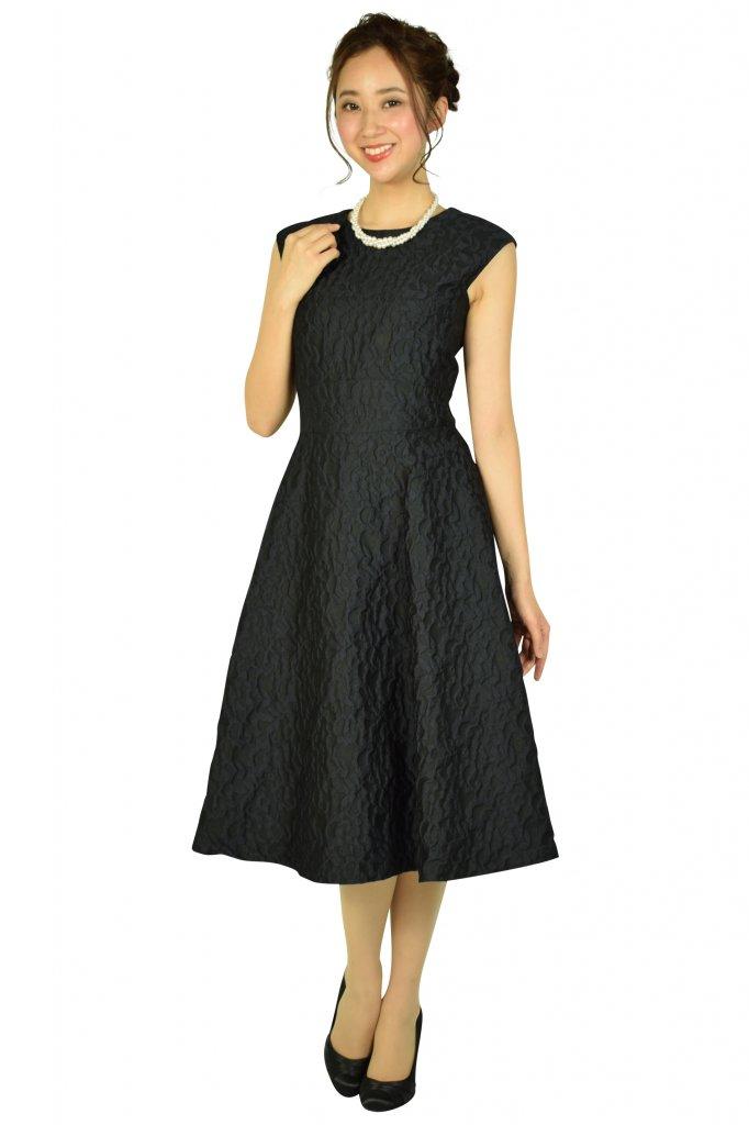 エメル リファインズ (EMMEL REFINES) リーフモチーフネイビードレス