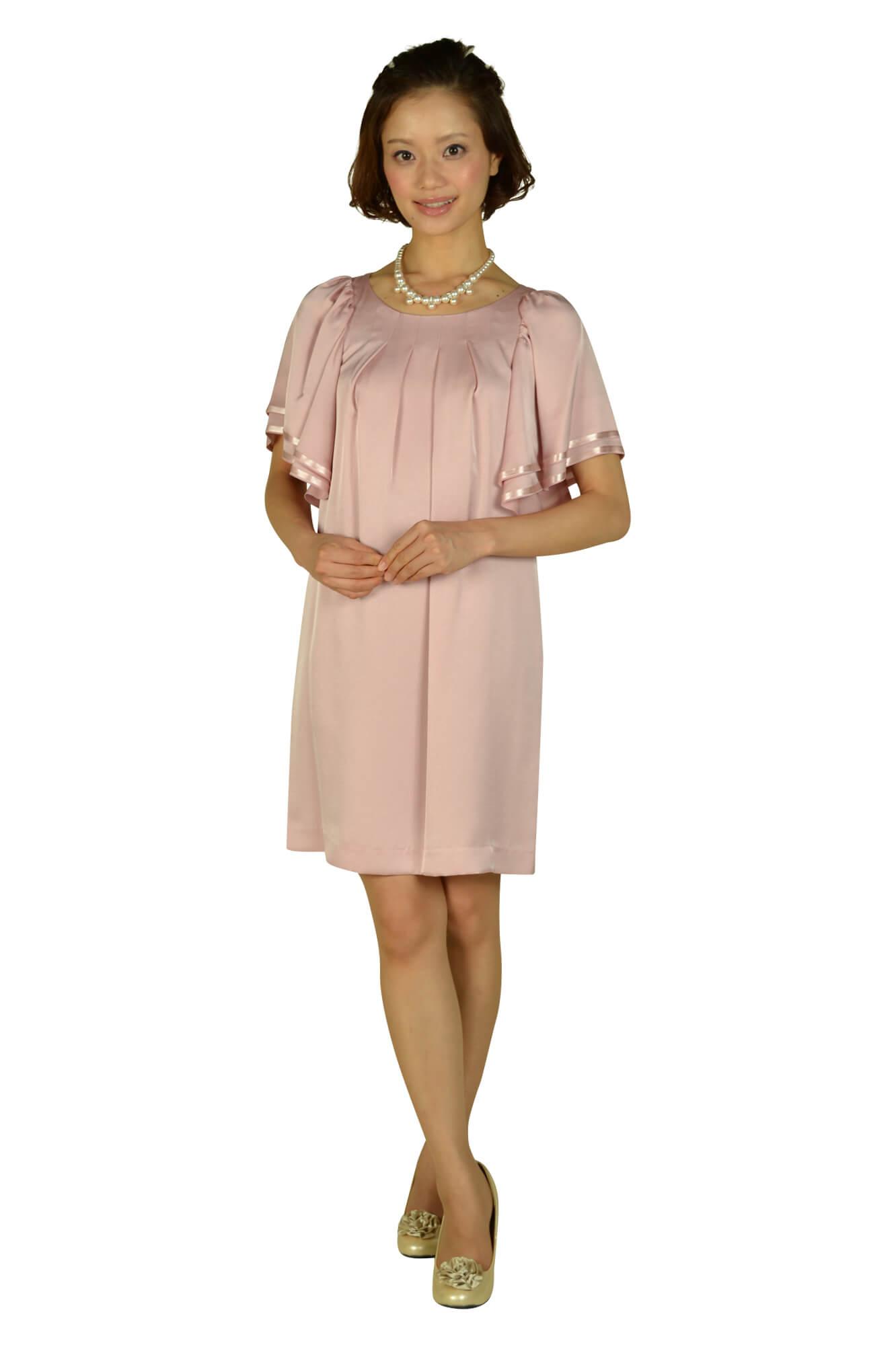 INEDゆったりフレア袖ピンクドレス