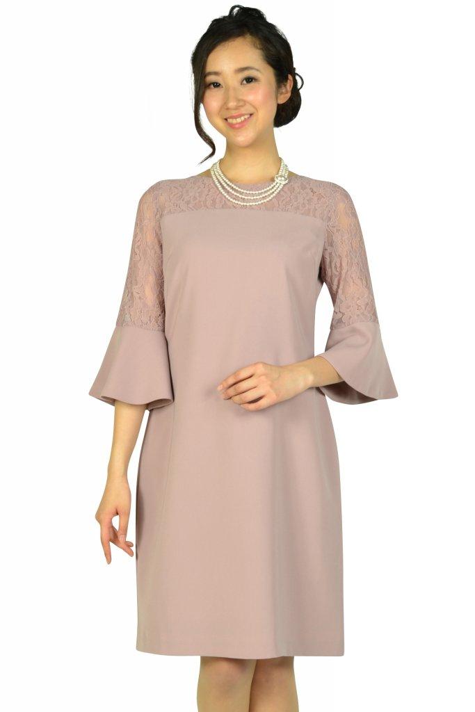 エルモソ リュクス(Hermoso luxe) 異素材ベル袖ピンクドレス