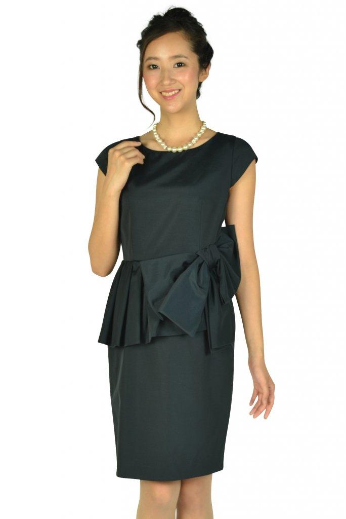 JUSGLITTY ウェストフリル&リボンネイビードレス