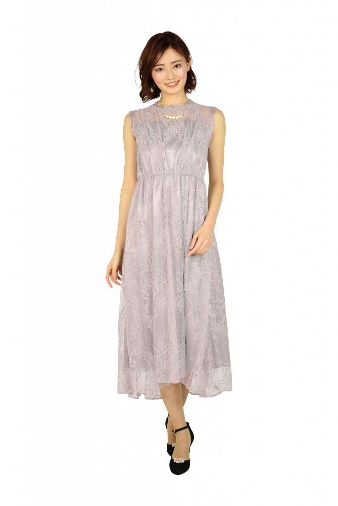 ketty ラメチュールレースモーブピンクドレス