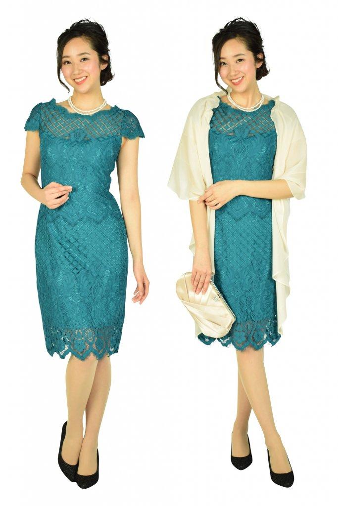 Tadashi Shoji エレガント総レースブルーグリーンドレス