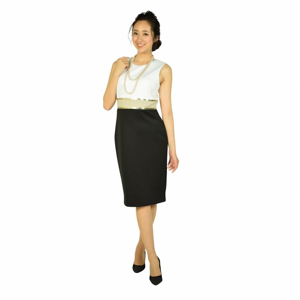 Calvin Klein ゴールドラインホワイト×ブラックドレス