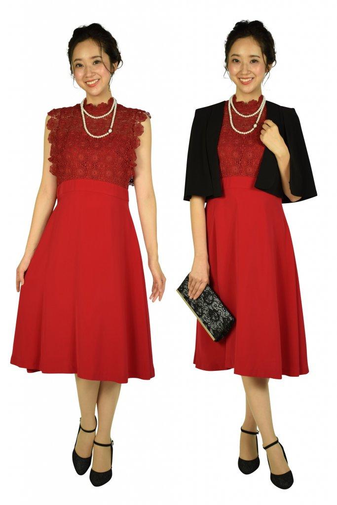 FeteROBE フラワーレースレッド系ドレス