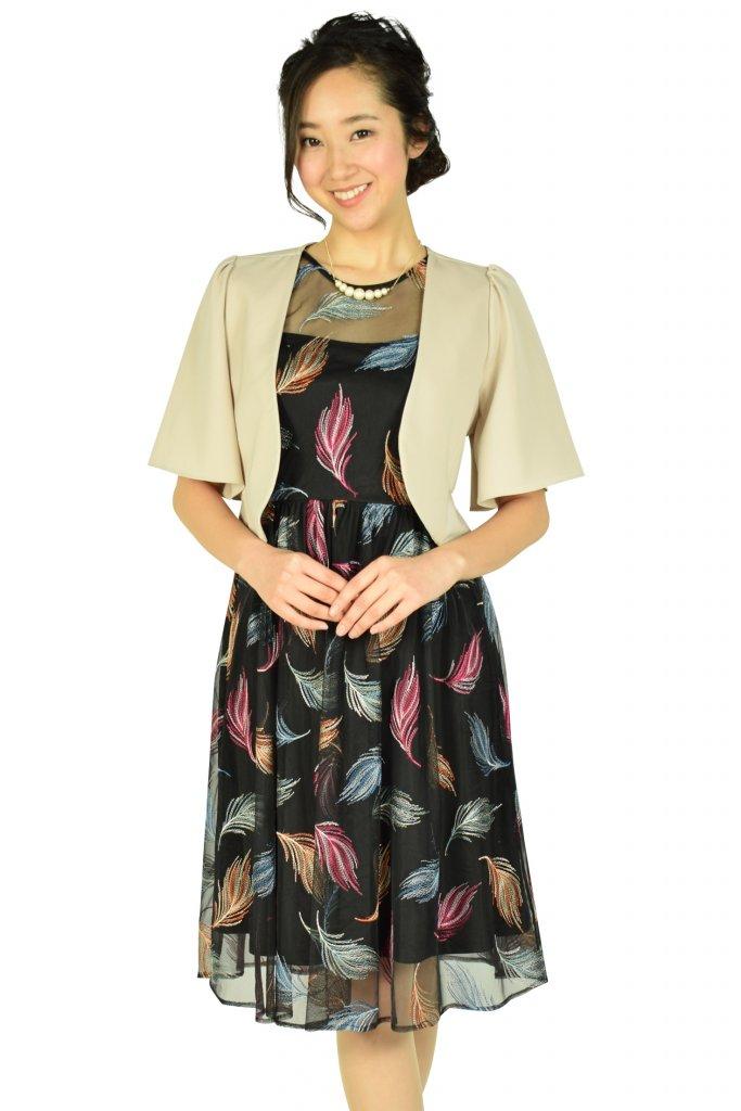 Calvin Klein マルチ羽刺繍ブラックドレスセット