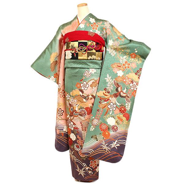 京都きものれんたる京商 【振袖レンタル 緑ピンク系】フルセット