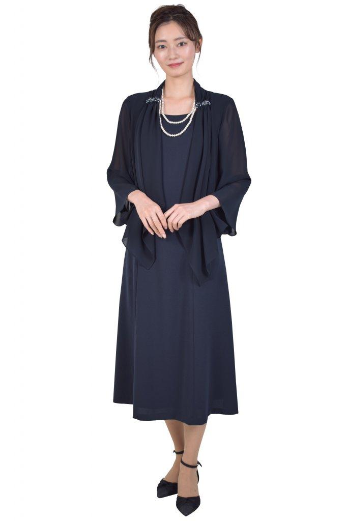 Yukiko Kimijima 羽織付き風濃ネイビーミモレ丈ドレス